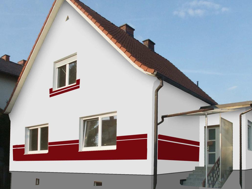 Fassadengestaltung. Design und Farbe mit Vorabvisualisierung